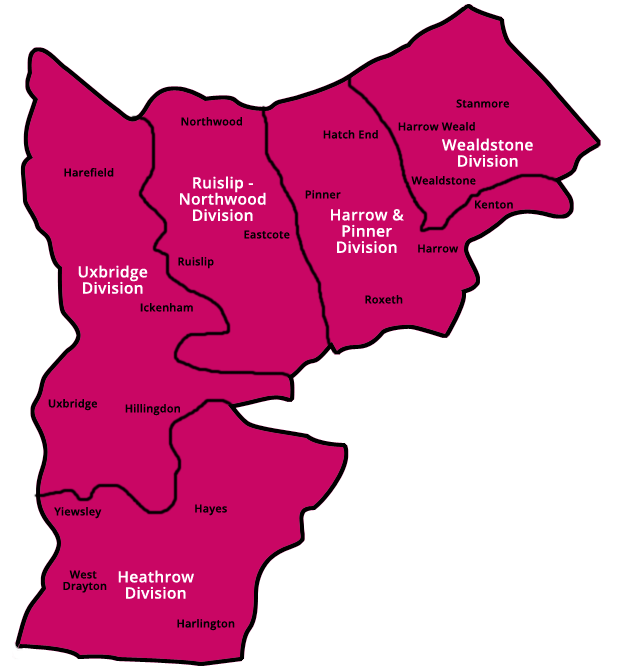 Girlguiding Middlesex North West County Map
