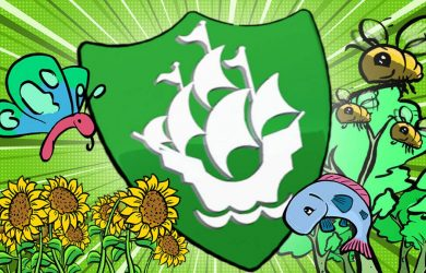 The Green Blue Peter badge with sunflowers, a butterfly, bees and a fish